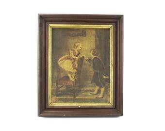 Victorian Wall Art - Hand Colored Romantic Boy & Girl - Meeker's Emporium of the Fine Arts
