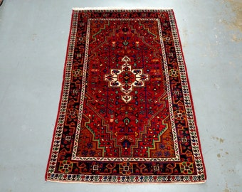 1970s Hand-Knotted Hamadan Persian Rug (3444)