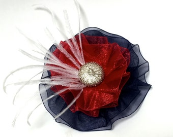 Fourth of July Brooch, Patriotic Brooch, 4th of July Pin, Red, White and Blue Magnetic Brooch