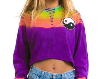 Yin Yang Tie Dye Sweater Crop Top