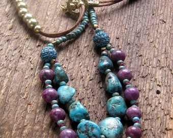 Turquoise Necklace, Sugilite Necklace, Statement Necklace, Bohemian Jewelry, Southwest Jewelry, Genuine Turquoise