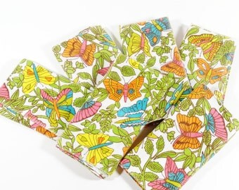 1960s Cloth Napkins - Butterflies - Mod Cloth Napkins - Set of 6