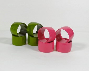 Green and Pink Napkin Rings - Lacquered Napkin Rings - Midcentury Napkin Rings