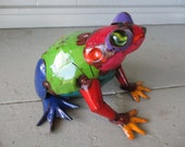 "7"" Recycled Metal Yard Art Garden Decor Folk Art Frog Toad Sculpture"