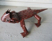 "Recycled Metal Yard Garden Decor Folk Art 13"" Horned Horny Toad Sculpture"