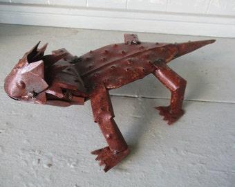 "Recycled Metal Yard Garden Decor Folk Art 13"" Horned Horny Toad Sculpture"