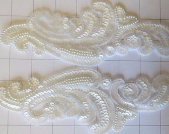 Pair of Mirrored White Sequins and Beaded Appliques Sew on (I-34)