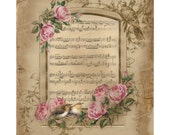 Scrapbook Digital Paper, Digital Paper Old Music Sheet, Vintage Rose Digital Paper, Shabby Pink Rose Collage Sheet 8.5 x 11. No. 605