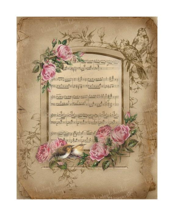 Scrapbook Digital Paper, Digital Paper Old Music Sheet