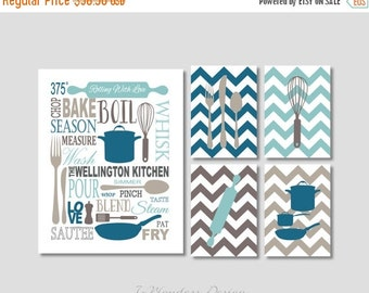 "ON SALE Personliazed Kitchen Art Subway Style with Chevrons Art Prints, Set of (5) 5"" x 7's"" and 11"" x 14"" // Seafoam Khaki Dust Sea Blue"