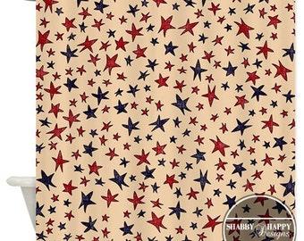 Shower Curtain Art Design  // Folk Art Americana Primitive Flag Stars Blue Red Tan // Custom Bathroom Decor // 12 stitch-enforced eyelets