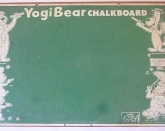 Vintage Chalk Board Yogi Bear Toy Black Board Wall Hanging 1960s