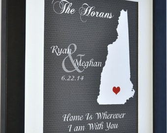 bride & groom gift, couples, wedding gift, 1st anniversary gift, new hampshire art print any state, new hampshire wedding map of manchester