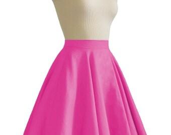 JULIETTE Fuchsia Rockabilly Swing Rock 'n Roll Skirt//Full Circle Black Skirt//Retro Mod 50s style Skirt//Party Skirt XXS-3X