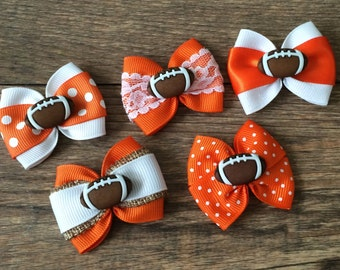 Clemson Dog or Infant Football Bow-Infant Football Bow-Baby Clemson Bow-Hair Bow for Dogs-Dog Football Bow-Clemson Dog Bow-Clemson Baby Bow