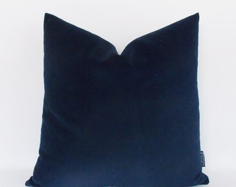 Solid Navy Velvet Coton Pillow Covers, Navy Throw Pillows, Decorative Velvet Pillows, Velvet Cushion,12,14,16,18,20,22,24,26,28,30 inch