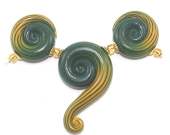 Green and yellow beads, 3 elegant gradient spiral beads, Ombre handmade beads for Jewelry making, Polymer Clay spiral beads with stripes