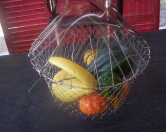 Collapsible wire mesh egg metal basket/Handmade metal basket/Egg wire metal basket/Vintage metal basket/White metal basket/Country decor