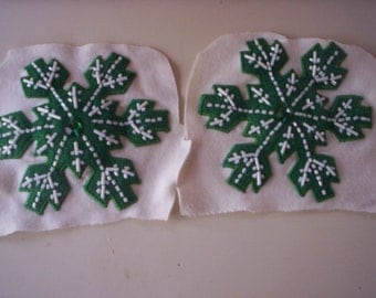 2 vintage appliques/Embroidered appliques/sew on appliques/Christmas appliques/2 Snowflake applique/Sewing supply/Beaded snowflake applique