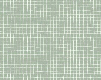 Mint Quilt Fabric Pojk in Celedon by Lotta Jansdotter Hemma Collection for Windham Fabric Light Green and White Crosshatch Fabric Grid Mint