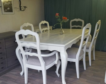 Custom to Order French Provincial Dining room set. Table and chairs
