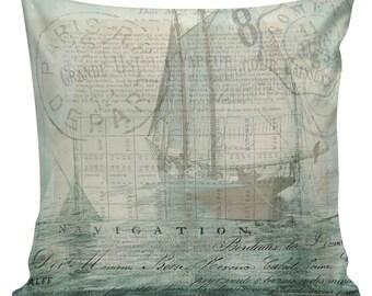 Nautical Pillow, Shell Pillow, Beach Pillow, French, Ships, Ocean Decor, Throw Pillow Cover, #NA0011, Elliott Heath Designs