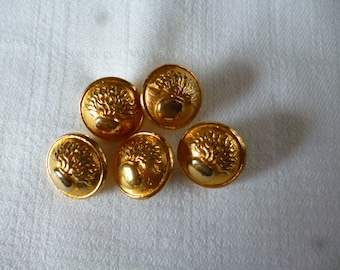 Vintage Buttons. 5 Lovely Art Nouveau Style Brass Buttons from 1960s.