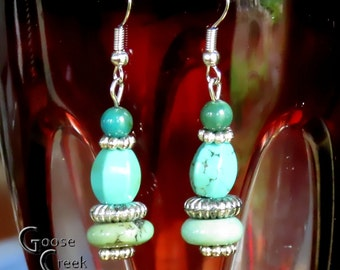 Magnesite Gemstone- Silver Steel Earrings