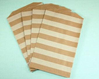 Kraft Paper Bags, Wide Stripes