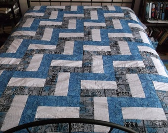 Hawaiian Blue, White & Gray Rail Fence Design Queen Size Quilt with Fleece Backing (FREE SHIPPING)