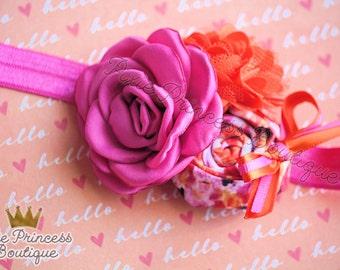 Hello, Lovely - Headband, Baby Headband, Photography Prop, Couture Headband, Hair Clip, Summer Headband, Spring Headband, Pink Orange