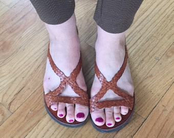 Mexican Braided Leather Sandals size 9.5