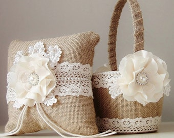 Burlap Flower Girl Basket, Burlap Ring Bearer Pillow, Rustic Wedding, Natural Burlap Flower Girl Basket and Ring Bearer Pillow