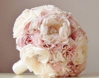 Fabric Wedding Bouquet, Weddings, Vintage Bridal Bouquet, Fabric Flower Bouquet, Brooch Bouquet, Light Pink/Blush, Ivory, Off White