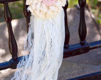 aisle decor, pew decorations, ivory pew decoration, wedding pew decorations, lace wedding decor, rustic wedding decorations, shabby chic