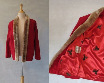 1950s - Red Wool Jacket With Mouton Trim