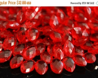 sale AAA ruby red quartz gemstone briolette- faceted ruby red marquis briolette- set of 10 Pcs- 12x8 mm No.652