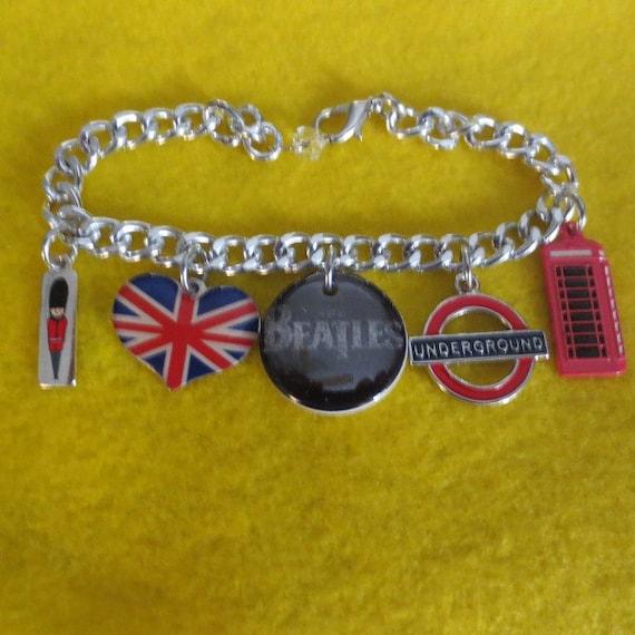 Beatles Charm Bracelet: Beatles British Charm Bracelet By SharynKBeatlecrafts On Etsy