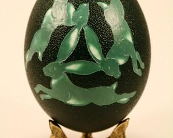 Three Hare (rabbit)  Emu Eggshell Carving with Brass Stand, Emu Egg, Easter Gift, Egg Art, Celtic, Ostara, Spring Gift, Eggshell Sculpture