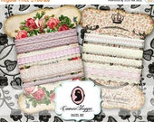 75% OFF SALE LACE Holders Digital Collage Sheet Shabby chic No 02 Digital Scrapbooking Printables download for Ribbon storage
