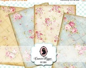 75% OFF SALE SHABBY Old Roses Digital Collage Sheet Set of 8 Atc Cards Digital Scrapbooking Instant Download