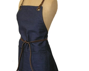 Denim apron with detachable leather waist and neck straps