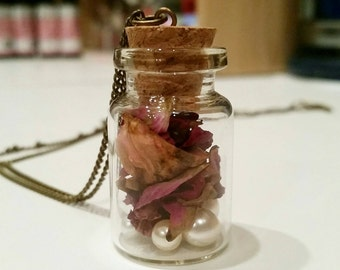 Dried rose petal & pearl vile necklace