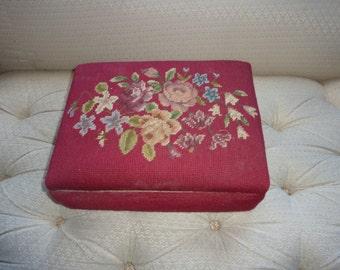 Handmade Needlepoint Footstool Storage Box