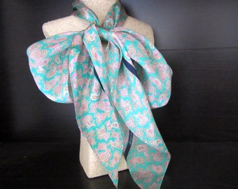 Sacha for Basha Silk Scarf Mint Green & Pink Spring Colors Paisley Design 6.25 x 60 Inches