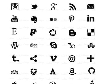 INSTANT DOWNLOAD - 35 Social Media Icons / For blog or website - SM7