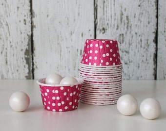 CANDY CUPS - Hot Pink with White Dots - Set of 20 : The Paper Doll