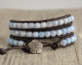 Leather wrap bracelet. Bohemian chic beaded jewelry. Light blue bracelet