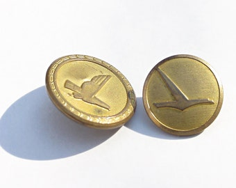 2 Eastern Airlines Uniform Buttons From Captain's Uniform - Vintage 1960s, 1970s - Brass Waterbury & Superior Buttons