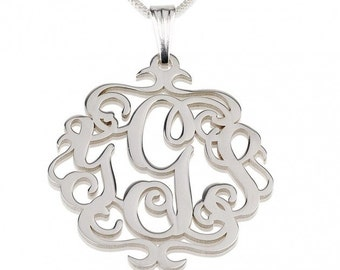 "Sterling Silver Swirly Monogram Necklace 1.8"" with chain"
